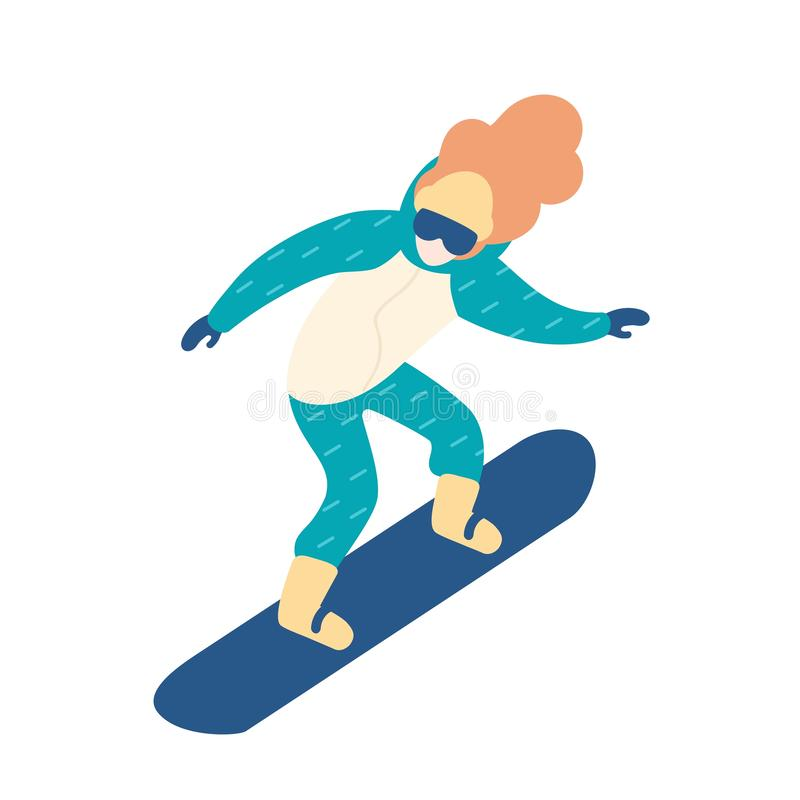 雪衣服雪板运动的妇女 有长发的女性挡雪板 冬天极限运动和消遣活动 库存例证