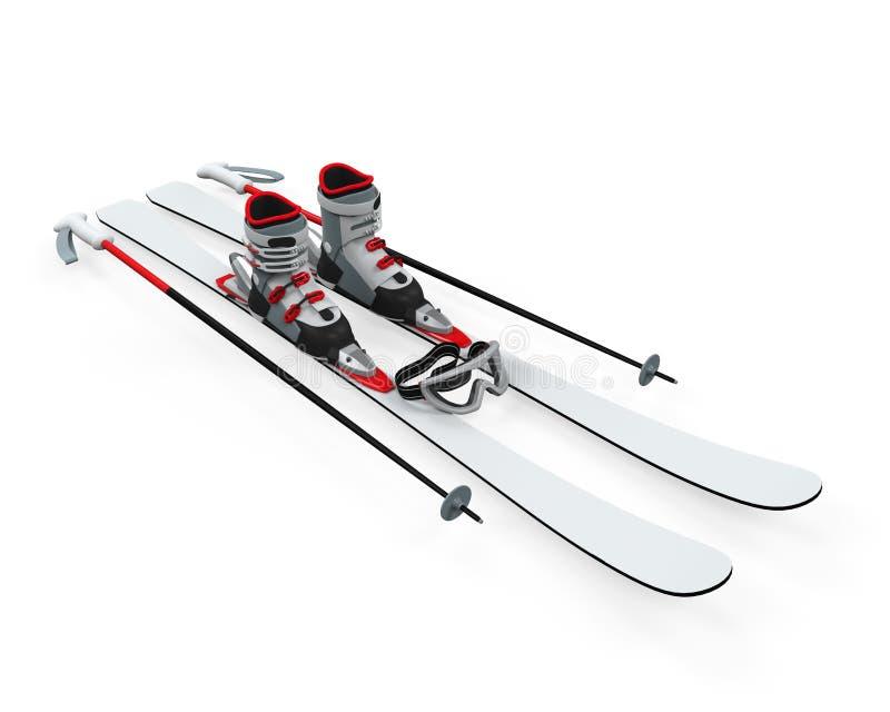 滑雪设备  皇族释放例证