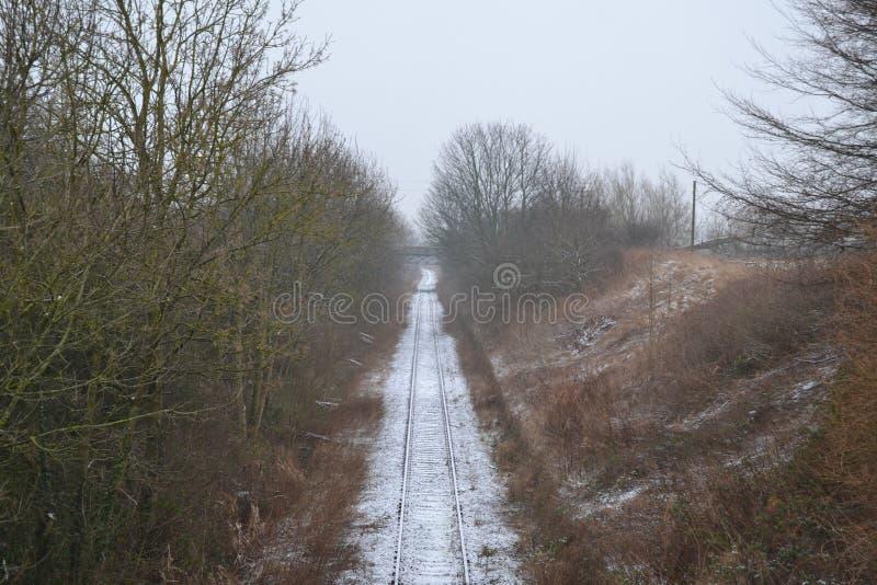 雪路轨 库存图片