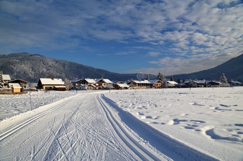 滑雪轨道在巴伐利亚 库存照片