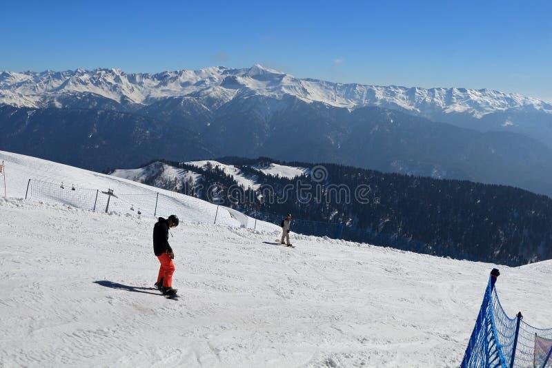 滑雪轨道的挡雪板在罗莎Khutor 图库摄影