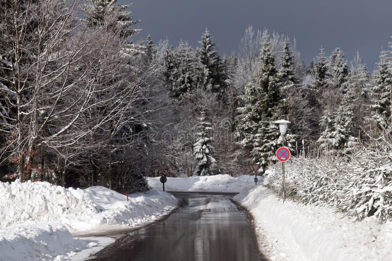 晴朗的冬天路 库存图片