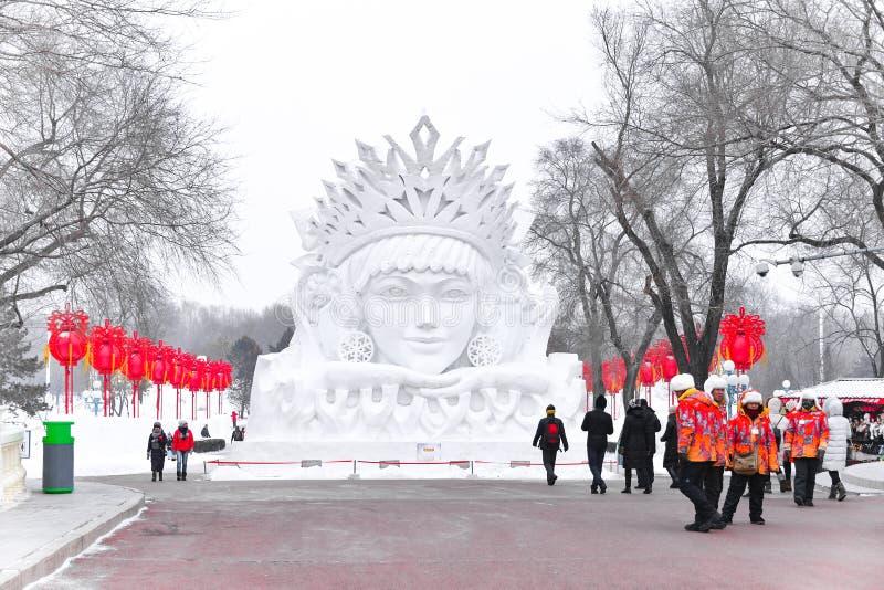 雪雕中国,哈尔滨太阳海岛国际雪雕艺术商展 位于哈尔滨市,黑龙江,中国 库存图片