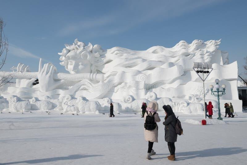 雪雕哈尔滨雪雕2018年生活喜欢在美好的细节的雪雕刻 免版税图库摄影