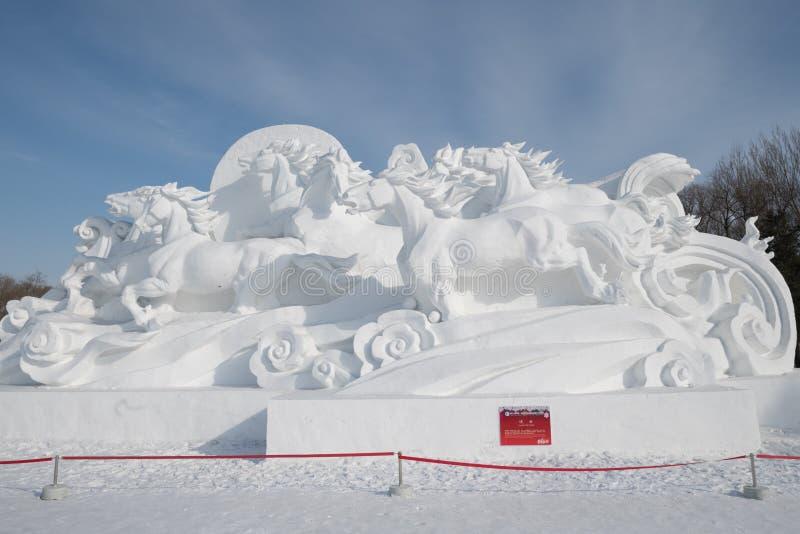 雪雕哈尔滨雪雕2018年生活喜欢在美好的细节的雪雕刻 库存图片