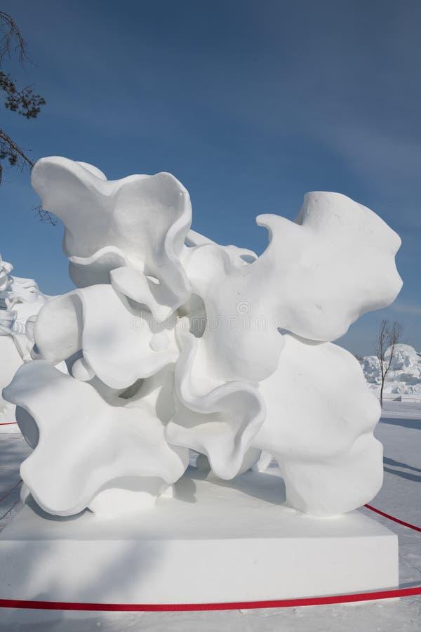 雪雕哈尔滨雪雕2018年生活喜欢在美好的细节的雪雕刻 免版税库存照片