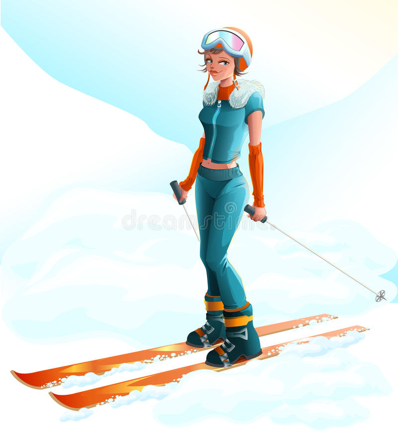 滑雪雪体育运动跟踪冬天 美丽的滑雪者妇女年轻人 皇族释放例证
