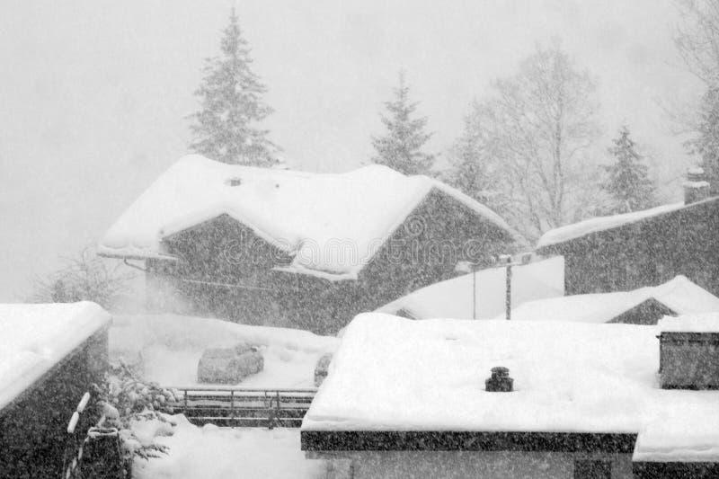雪风暴在格林德瓦滑雪区域 瑞士阿尔卑斯在冬天 免版税库存图片