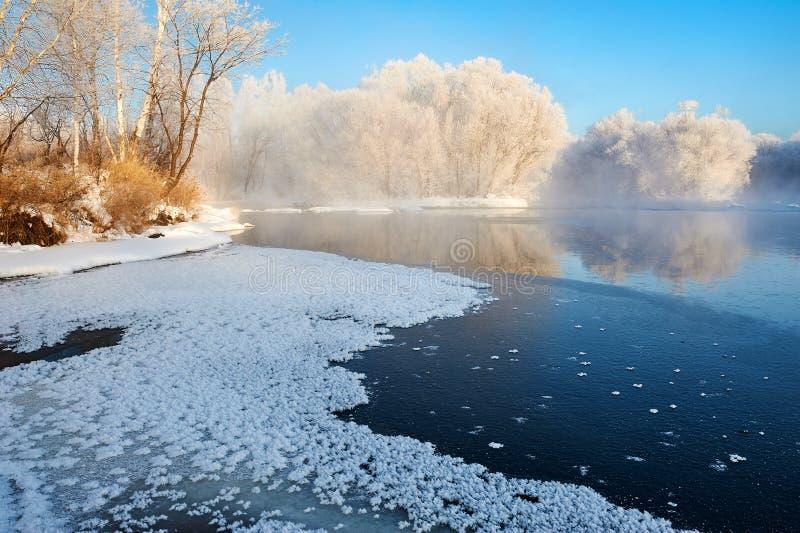雪什么和霜和河 免版税库存图片