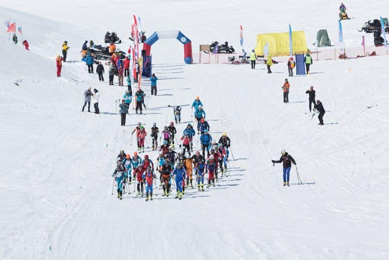 滑雪登山冠军:许多起动种族 库存图片