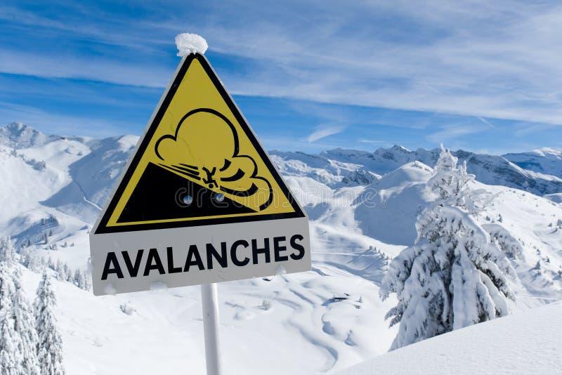雪崩签到有雪的冬天阿尔卑斯 免版税库存照片