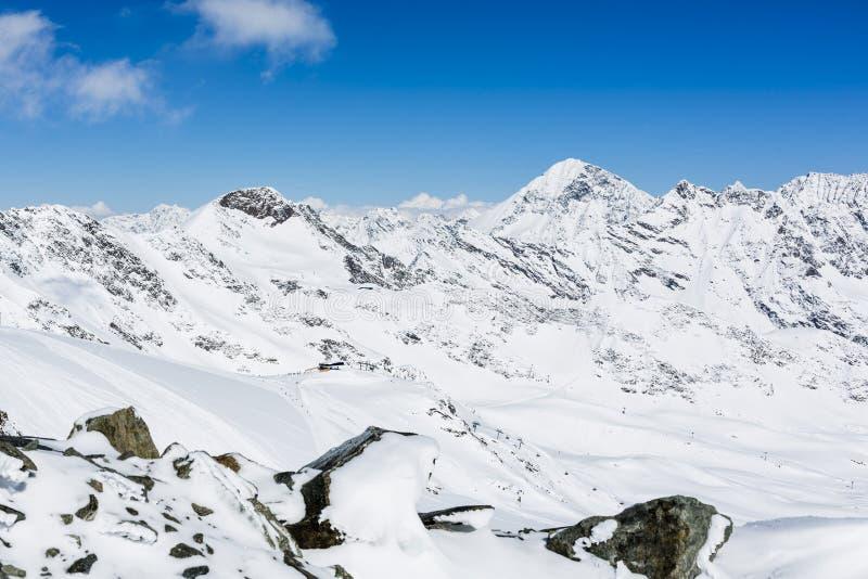 滑雪Stubai冰川,提洛尔,因斯布鲁克土地,奥地利 图库摄影