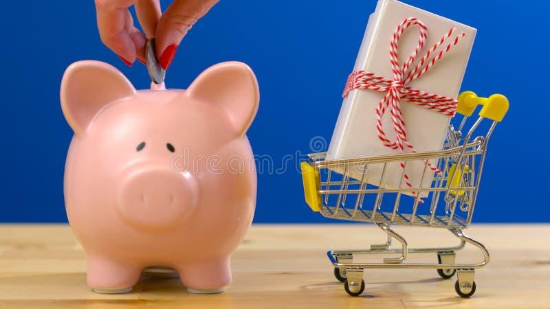 零售与微型购物车和存钱罐的储款购物的概念 免版税库存图片