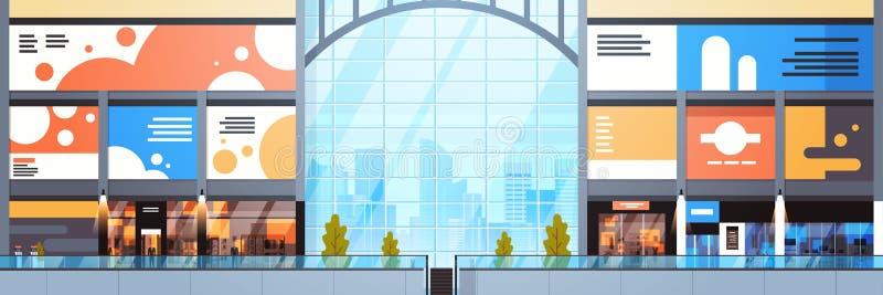 零售店水平的横幅现代商城内部大许多精品店设计  皇族释放例证