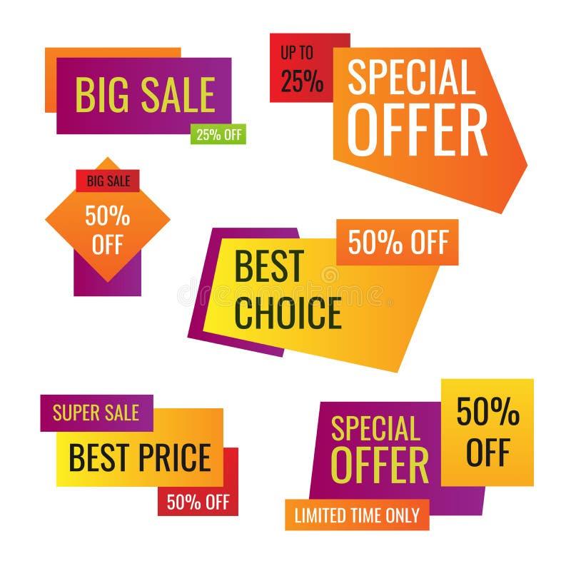 零售标记 便宜飞行物、最佳的出价和大售价标记徽章设计 有限的销售提供标签或商店 向量例证