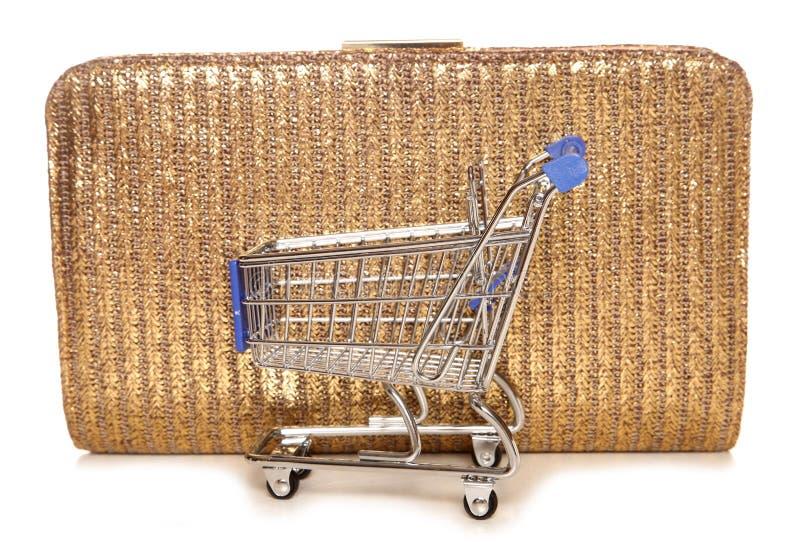 零售疗法购物台车和提包 库存照片