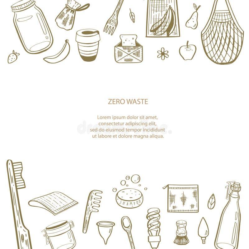 零的废传染媒介手拉的infographic背景 eco和自然元素的汇集   库存例证