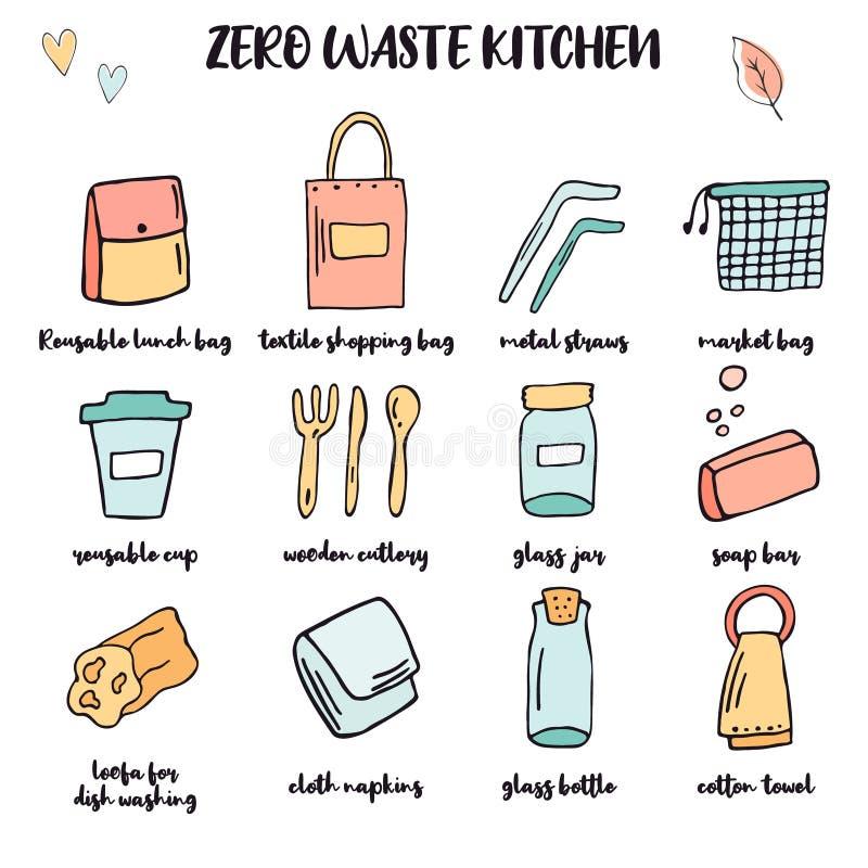 零的废厨房大集合 手拉的项目 向量例证