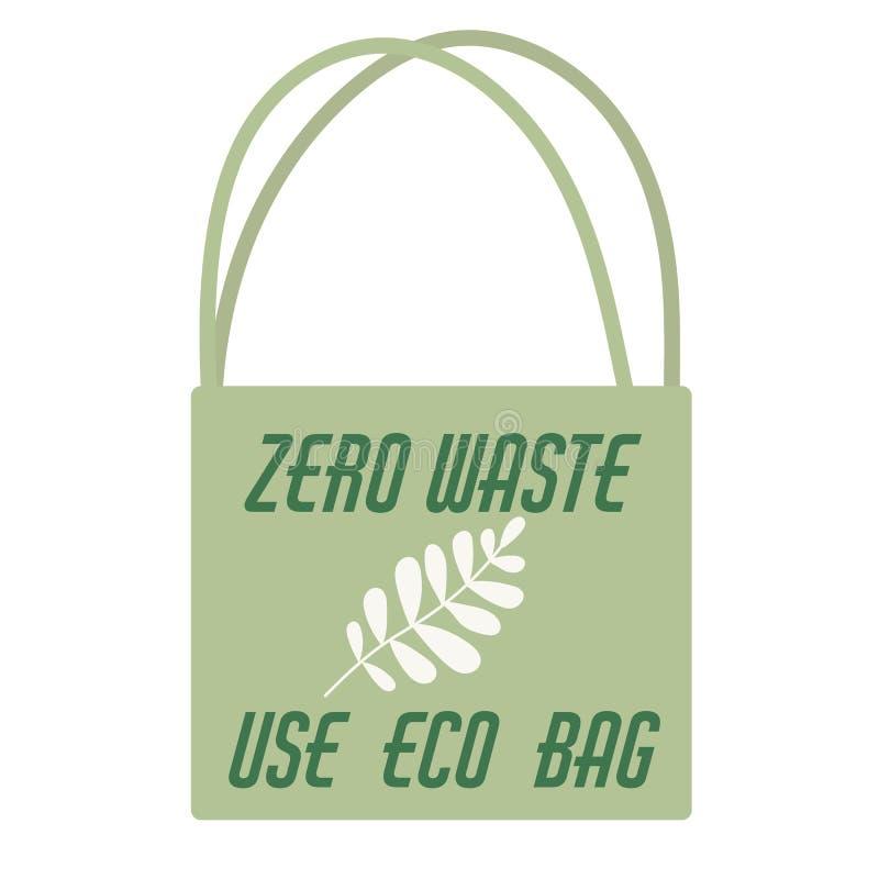 零的废概念海报 Eco?? 零的废概念海报 Eco帆布棉花袋子 向量例证
