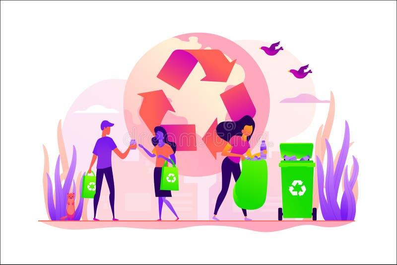 废物自由,零的废技术概念传染媒介例证 向量例证