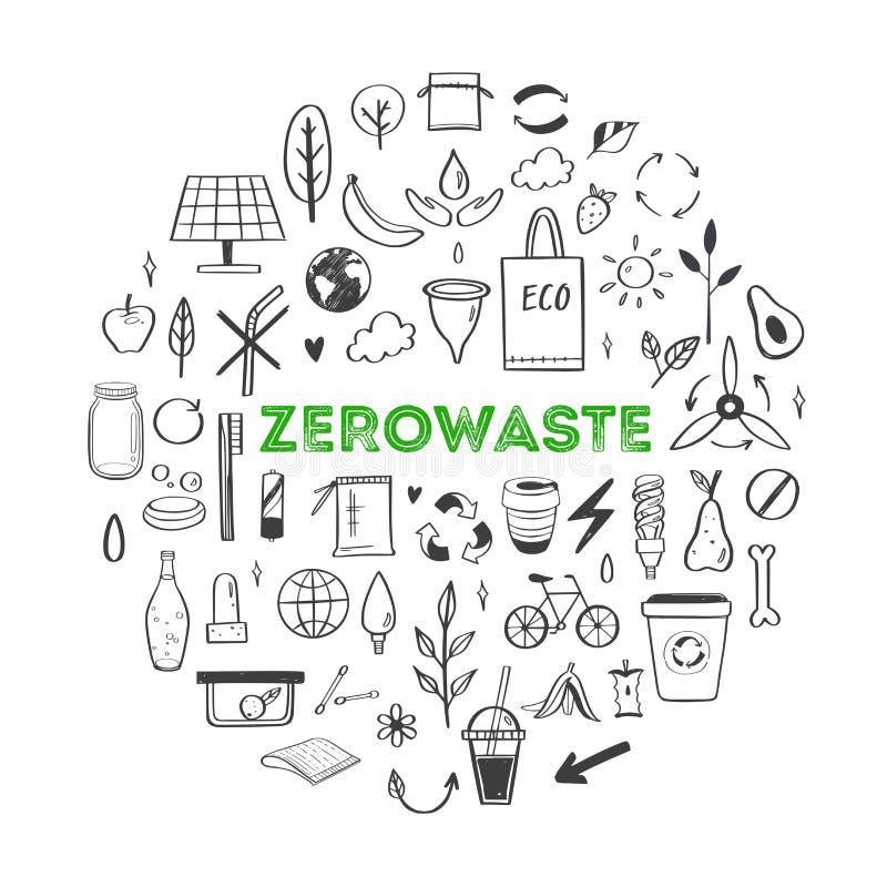 零的废生活方式传染媒介手拉的集合 ecogical和自然元素的汇集 概念去绿色 皇族释放例证