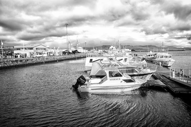 雷克雅未克,冰岛- 2017年10月13日:在海码头的汽船在小村庄 在沿海的游艇在多云天空 免版税图库摄影