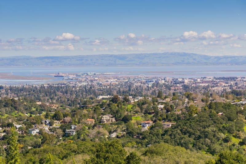 雷德伍德市,硅谷,旧金山湾,加利福尼亚鸟瞰图  免版税库存照片