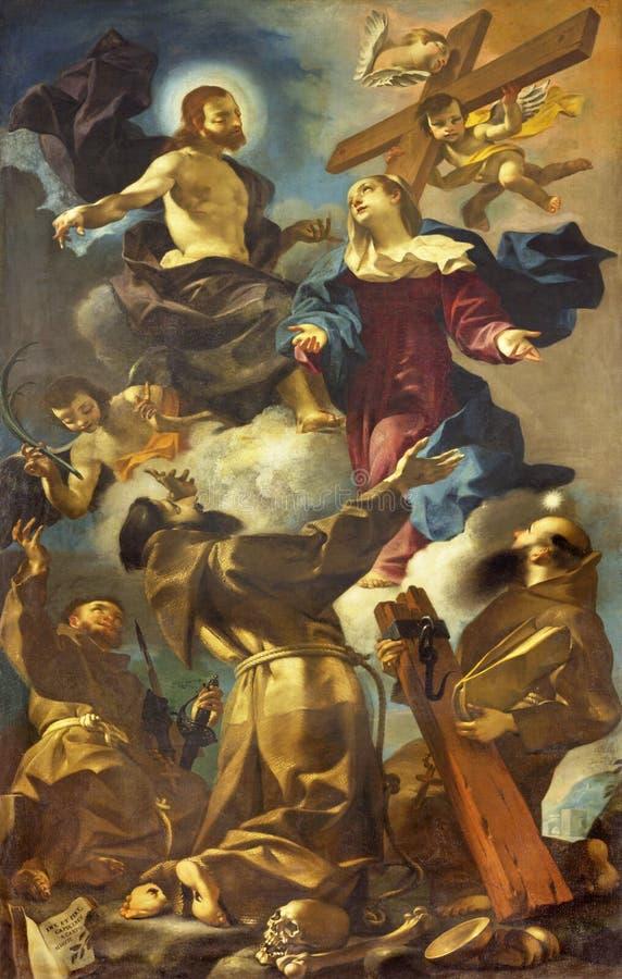 雷焦艾米利亚,意大利- 2018年4月12日:神化方济会弗朗西斯,安东尼圣徒绘画  免版税库存图片