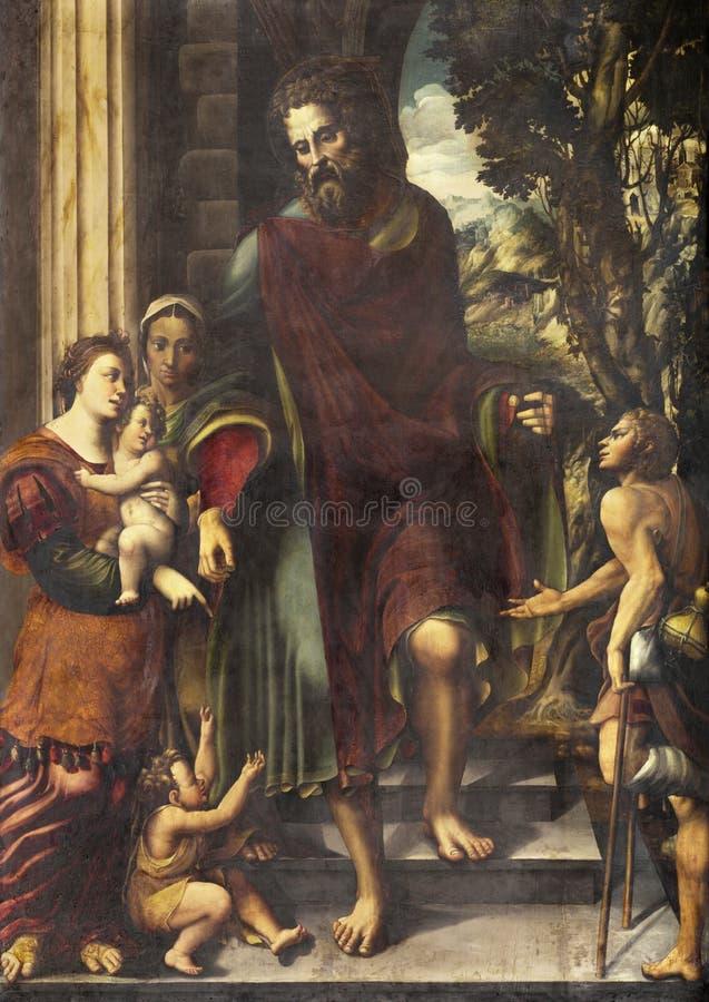 雷焦艾米利亚,意大利- 2018年4月13日:绘画圣洁在教会大教堂二圣普罗斯佩罗的施舍 免版税图库摄影