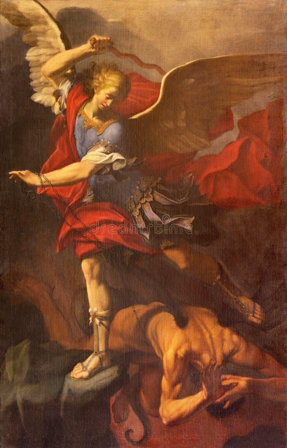 雷焦艾米利亚,意大利- 2018年4月12日:迈克尔天使绘画在中央寺院教会里奥拉齐奥Talami 免版税库存照片