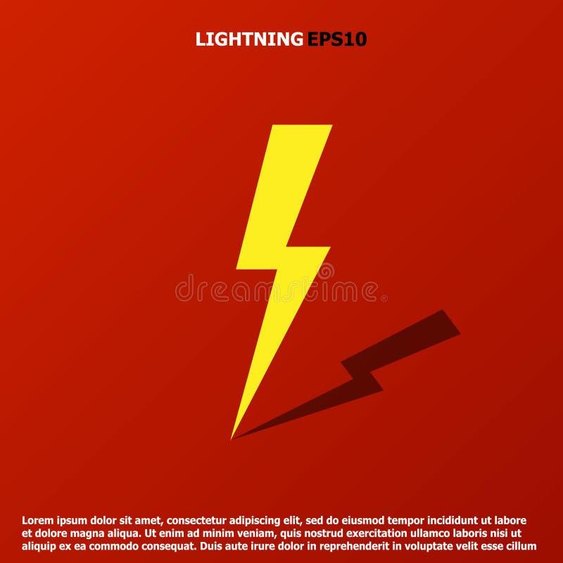 雷电最小的简单的平的标志 库存例证