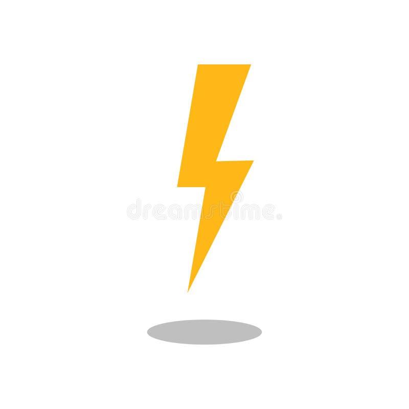 雷电象传染媒介,被填装的平的标志,在白色隔绝的坚实图表 标志,商标例证 向量例证