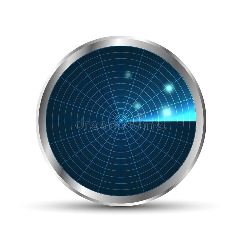雷达图标 背景设计例证工友白色 eps10开花橙色模式缝制的rac ric缝的镶边修整向量墙纸黄色 与扫描的雷达显示器 向量例证