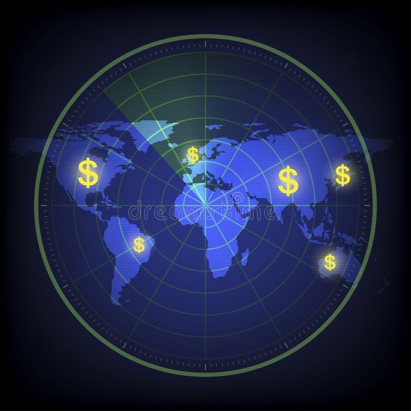 雷达扫描美元的符号结束 库存照片