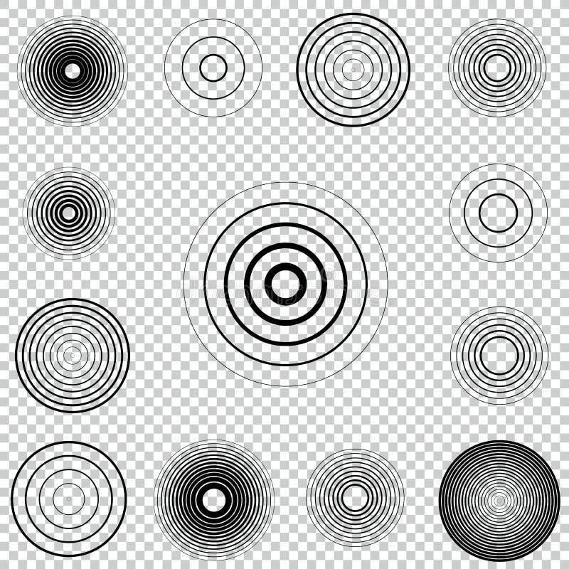 雷达显示器同心圆元素集 声波 圈子旋转目标 电台信号 库存例证