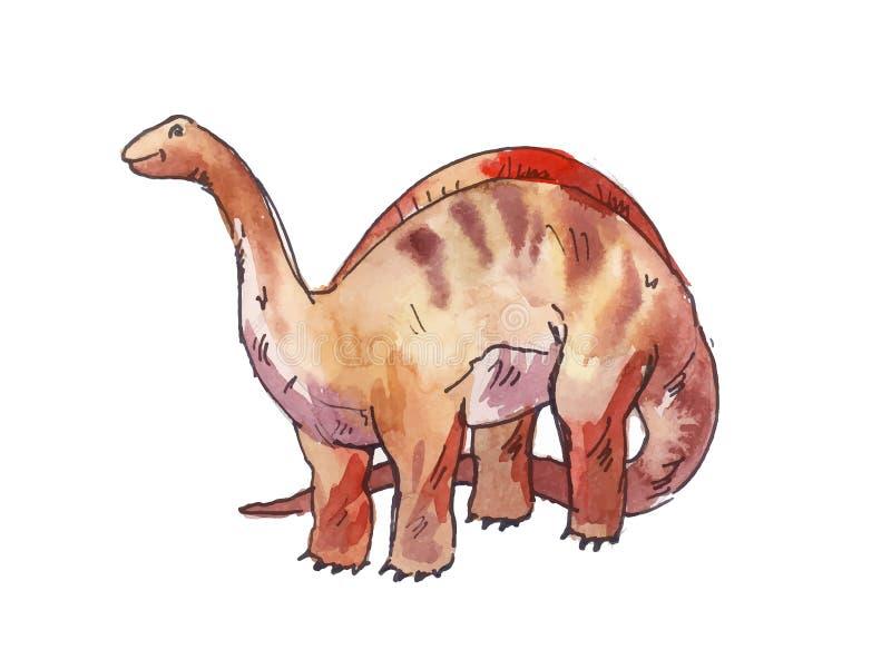 雷龙属 恐龙的水彩例证.图片