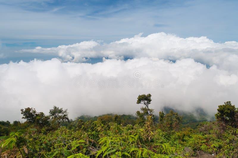 雾和云彩在山 火山默拉皮火山 库存图片