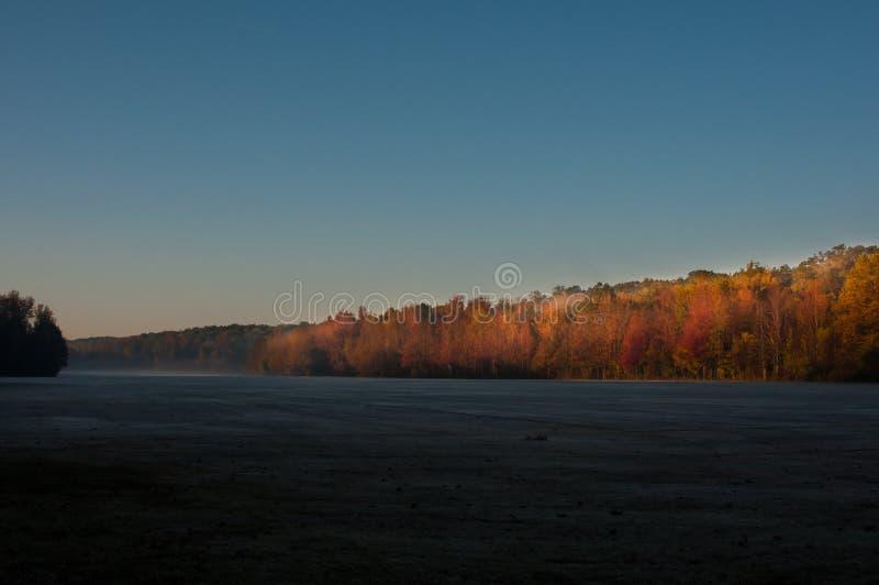 雾在远处升起,霜把草盖住 图库摄影