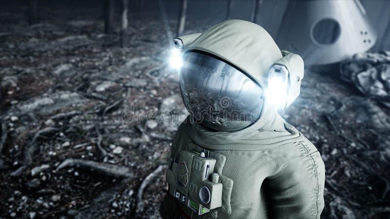 雾夜森林恐惧和恐怖的宇航员 着陆点 4K动画 3d翻译 皇族释放例证