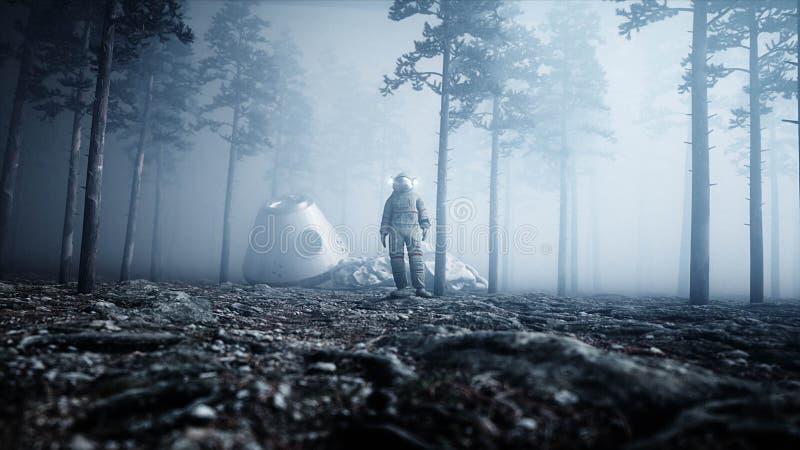 雾夜森林恐惧和恐怖的宇航员 着陆点 4K动画 3d翻译 向量例证