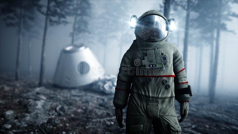 雾夜森林恐惧和恐怖的宇航员 着陆点 4K动画 3d翻译 库存例证