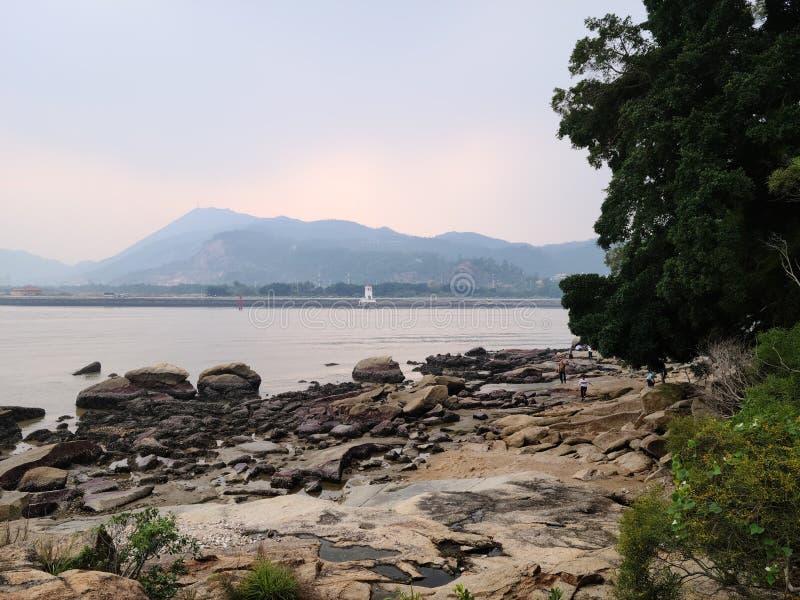 雾天绿树无沙岩澳门运河 免版税图库摄影