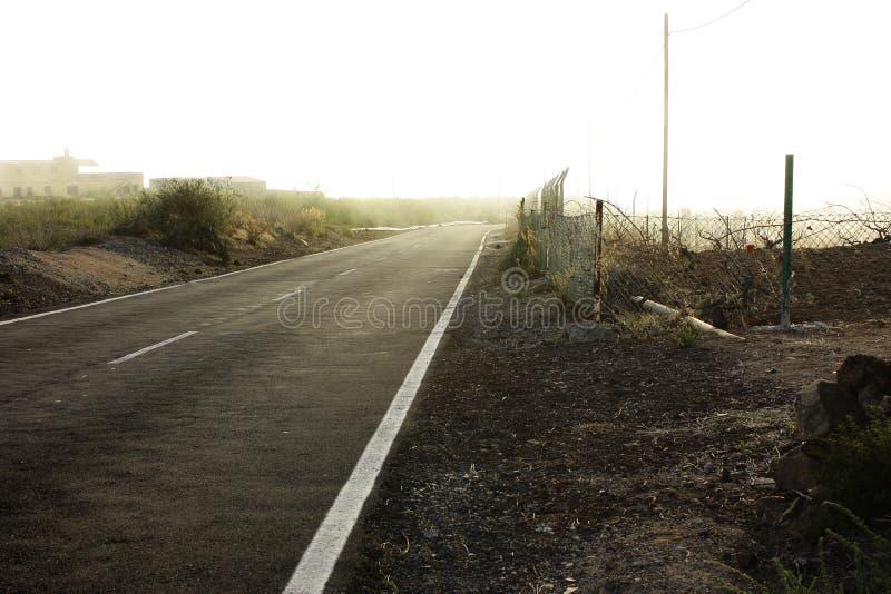 雾漫长的路 免版税库存图片