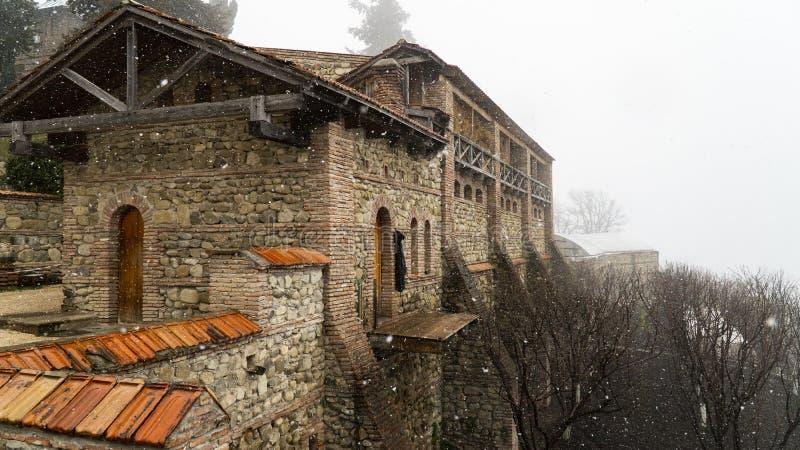 雾的老堡垒 免版税图库摄影