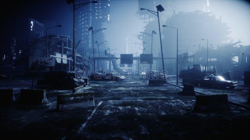 雾的默示录城市 被毁坏的城市的鸟瞰图 默示录概念 3d翻译 库存图片