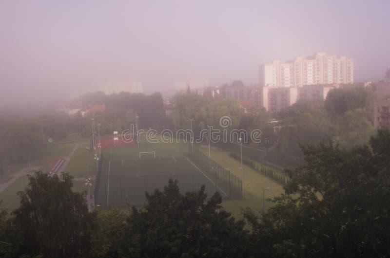 雾的-从上面的一个看法大城市 图库摄影