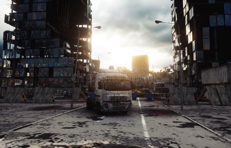 雾的默示录城市 被毁坏的城市的鸟瞰图 默示录概念 3d翻译 向量例证