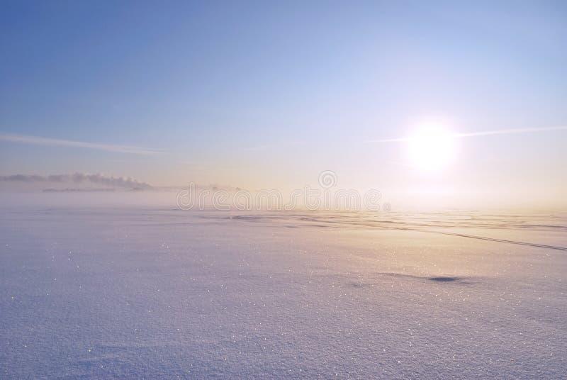 雾雪闪耀的星期日冬天 库存图片