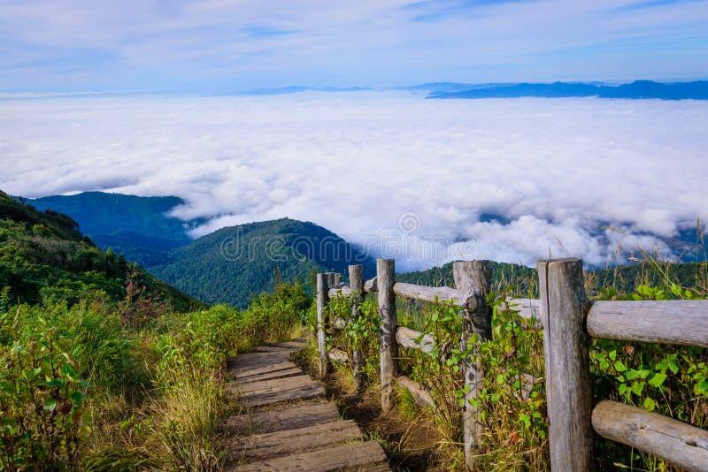 雾风景海与木步行方式的在Kew Mae平底锅自然tra 免版税图库摄影