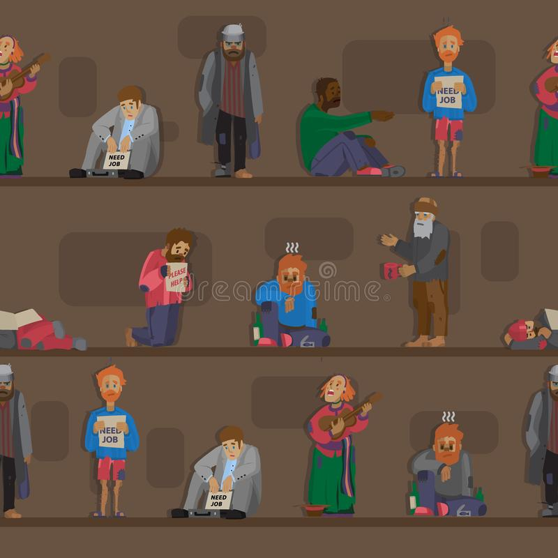 需要帮助二赖子和流浪汉的无家可归的人字符cadger集合失业人迷路传染媒介无缝的样式 库存例证